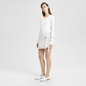 Striped Linen Wrap-Tie Skirt