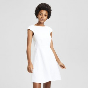 Double-Faced Linen Cap-Sleeve Shift Dress
