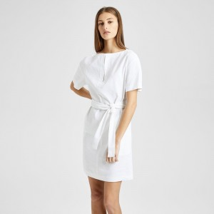 Organic Crunch Linen Belted Shift Dress