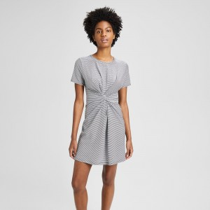 Striped Cotton-Modal Knot Tee Dress