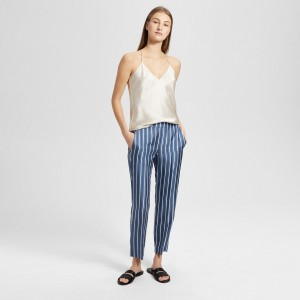 Silk Stripe Pull-On Trouser
