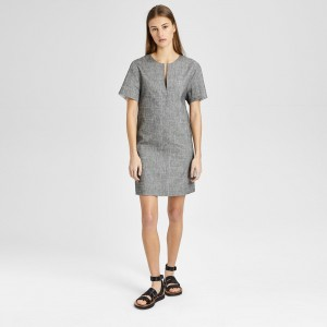 Crunch Linen Slit Front Shift Dress