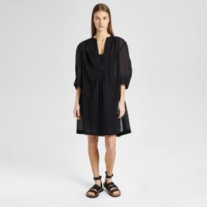Placket Shirred Dress