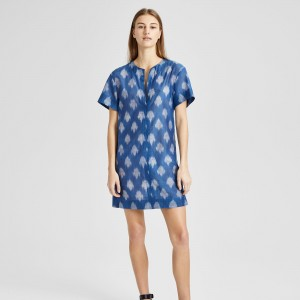 Ikat Slit Front Shift Dress