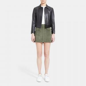 Leather Shrunken Jean Jacket