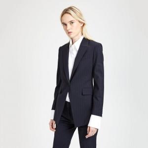 Good Wool Pinstripe Long Blazer