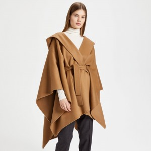 Wool-Cashmere Hooded Poncho