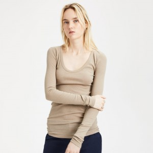 Cotton-Cashmere Long-Sleeve Scoop Tee