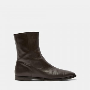Zip-Up Bootie in Leather