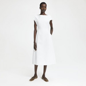 Double Stretch Cotton Boatneck Tulip Dress