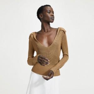 Draped Collar V-Neck Sweater