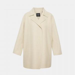 Cashmere Blend Melange Overlay Coat