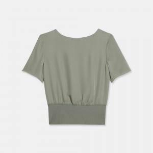 Silk Combo Ribbed-Waist Top