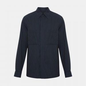 Cotton-Linen Striped Shirt Jacket