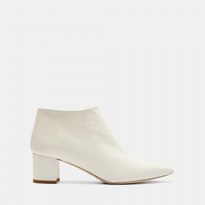 Leather Mid Heel Bootie