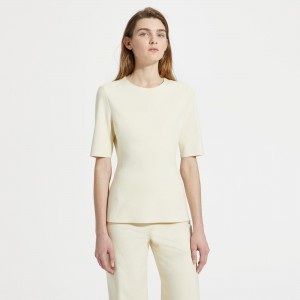 Cotton Ponte Fitted Short-Sleeve Shell