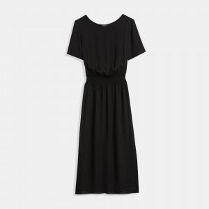 Silk Combo Ribbed-Waist Dress