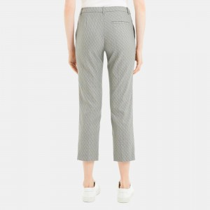 Optical Wool Cropped Tailored Trouser