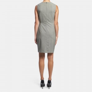 Good Wool Houndstooth Sleeveless Fitted Dress