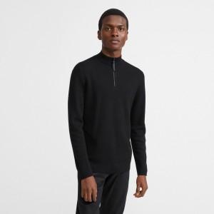 Merino Wool Mock Half Zip Sweater