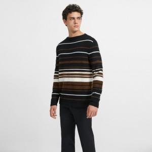 Cashmere Striped Crewneck Sweater