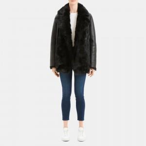 Reversible Shearling Overlay Coat