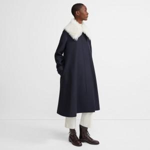 Stretch Wool Melton Cloak Coat