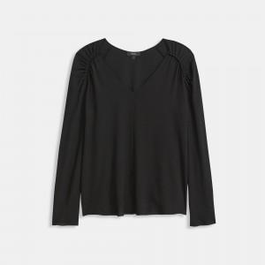 Shirred Shoulder Top in Silk