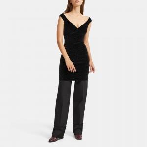 Dot Velvet Paneled Off The Shoulder Dress
