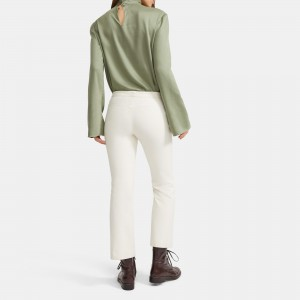 Mock Neck Top in Draped Twill