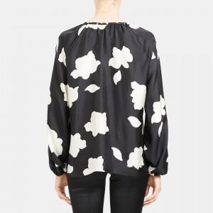 Open V-Neck Top in Petal Print Silk