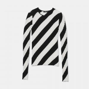 Crewneck Sweater in Striped Silk Intarsia
