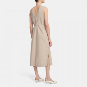 Deep V Midi Dress in Linen Blend