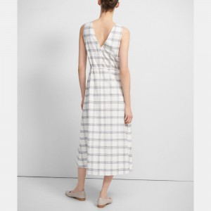 Deep V Midi Dress in Spring Plaid