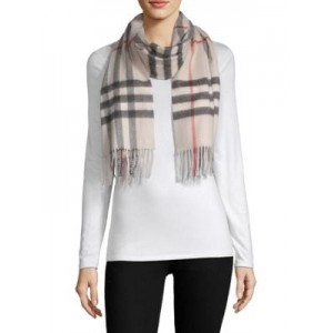 Stone Giant Check Cashmere Scarf