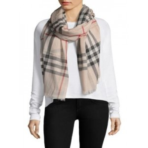 Gauze Giant Check Wool & Silk Scarf