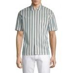 Cotton Button-Front Striped Shirt