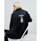 adidas Original Three Stripe Track Jacket With Vintage Logo In Black