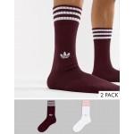 adidas Originals 2 Pack Crew Socks In Red DH3361