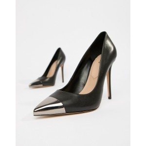 ALDO Edania black metal toe leather pumps