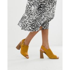ALDO Elalyan buckle block heeled leather sandals in mustard