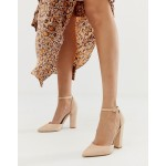 ALDO Nicholes block heeled pumps with ankle strap in beige