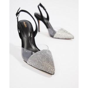 ALDO Sywiel black embellished pointed toe slingback heels