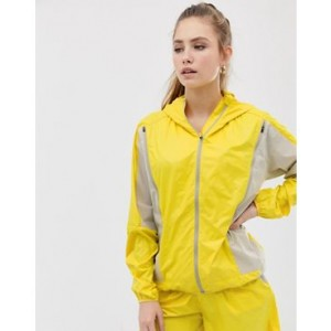 ASOS 4505 running jacket with zip detail stone and yellow
