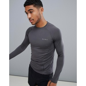 ASOS 4505 training muscle long sleeve t-shirt with quick dry in gray