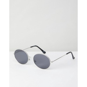 ASOS 90s Oval Metal Sunglasses In Silver