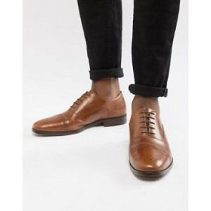 ASOS Brogue Shoes In Tan Leather With Toe Cap