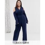 ASOS CURVE clean tux cold shoulder tie waist jumpsuit