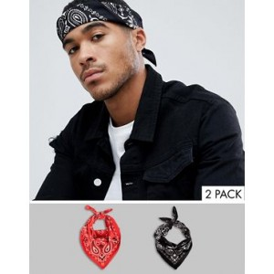 ASOS DESIGN 2 pack bandana in black and red paisley