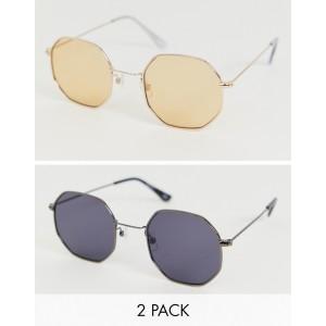 ASOS DESIGN 2 pack metal hexagon sunglasses in gold and matt black